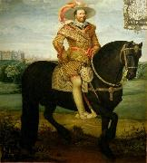Daniel Orme Equestrian portrait of John Albert II oil painting